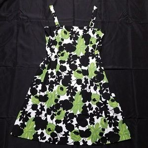 EUC Dressbarn green floral dress, 16